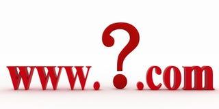 Guestionteken tussen www en puntcom. Concepten onbekende Web-pagina. Royalty-vrije Stock Foto
