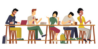 Guests at coffee bar. Vector illustration of guests, man and woman, enjoy coffee at wooden bar. Diverse and milti-ethnic character, flat design, vintage style vector illustration