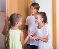 Guests coming with friendly visit Royalty Free Stock Photography