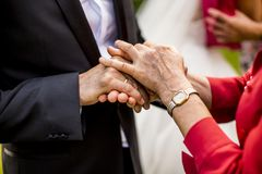 Guests congratulate to the groom. On wedding day Royalty Free Stock Photos