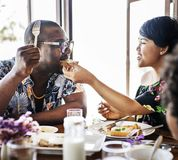 Guests having breakfast at hotel restaurant stock photography