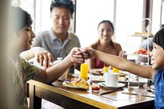 Guests having breakfast at a hotel restaurant stock photos