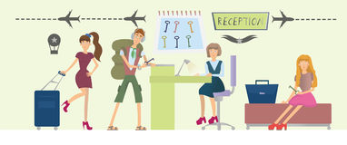 Guests of the hotel and the girl behind the counter at the reception. Hotel or hostel lobby interior. Vector. Guests of the hotel and the girl behind the counter Stock Photography