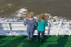 Guests at the railing on the ferry to Borkum Stock Photography