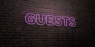 GUESTS -Realistic Neon Sign on Brick Wall background - 3D rendered royalty free stock image Stock Photos