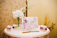 Guests wedding book with gold pen on table stock photos