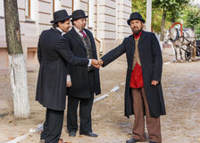 Guests at the wedding. Shooting about the artist Marc Chagall. Actors. Fall of 2012. Vitebsk. Belarus Stock Photo