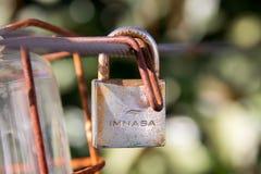 Guethary/France- 23.07.18 :Imnasa rusty old vintage padlock lock royalty free stock photography