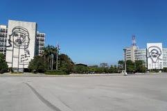 Guevara and Cienfuegos in Havana. Revolution Square view in Havana Royalty Free Stock Images