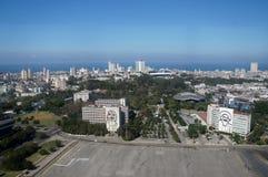 Guevara and Cienfuegos in Havana. Revolution Square view in Havana Stock Photos