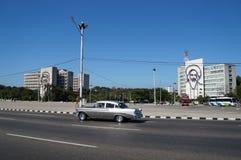 Guevara and Cienfuegos in Havana. Revolution Square view in Havana Stock Photography