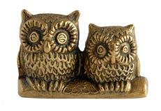 Gufi bronzei della figurina due Fotografia Stock Libera da Diritti