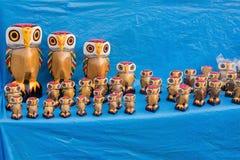 Gufi di legno, artigianato indiani giusti a Calcutta Immagine Stock
