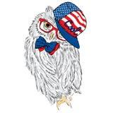 Gufo che indossa un cappuccio e un legame Vetri del gufo Gufo sveglio stampa hipster Uccello dipinto Cartolina con il gufo Immagine Stock