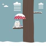 Gufo con l'ombrello nevoso Fotografia Stock Libera da Diritti