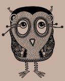 Gufo decorato sveglio moderno originale di fantasia di scarabocchio Immagine Stock