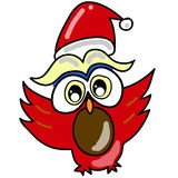 Gufo del fumetto in cappello della Santa disegnato a mano Fotografie Stock Libere da Diritti