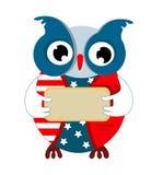 Gufo del fumetto nel colore della bandiera americana illustrazione vettoriale
