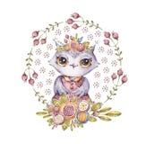Gufo dell'acquerello, corona del fiore, carattere di favola fotografie stock libere da diritti