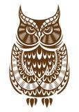 Gufo di Brown con l'ornamento decorativo Fotografia Stock Libera da Diritti