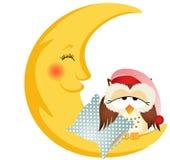 Gufo di buona notte che si siede su una luna Fotografia Stock Libera da Diritti