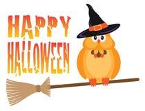 Gufo di Halloween sull'illustrazione di vettore del manico di scopa Fotografia Stock Libera da Diritti