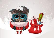 Gufo di Natale nel vestito rosso di Santa Fotografie Stock Libere da Diritti