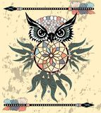 Gufo di sogno decorativo indiano del collettore nello stile grafico Illustrazione fotografia stock libera da diritti