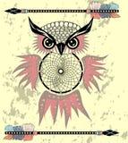 Gufo di sogno decorativo indiano del collettore nello stile grafico Illustrazione illustrazione vettoriale
