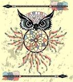 Gufo di sogno decorativo indiano del collettore nello stile grafico Illustrazione illustrazione di stock