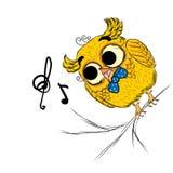 Gufo dipinto a mano Uno schizzo di un gufo Vettore dell'uccello, caricatura Immagine Stock Libera da Diritti