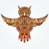 Gufo disegnato a mano ornamentale Fotografia Stock