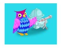Gufo e globo royalty illustrazione gratis