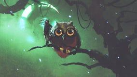 Gufo gigante e suo il proprietario che stanno su un ramo nella foresta di notte illustrazione di stock