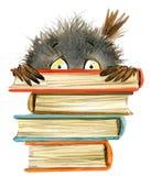 Gufo Gufo sveglio illustrazione di libri della scuola Uccello del fumetto illustrazione di stock
