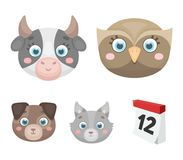 Gufo, mucca, lupo, cane Le icone stabilite della raccolta della museruola animale del ` s nello stile del fumetto vector il web d Fotografia Stock Libera da Diritti