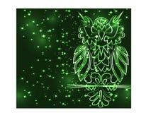 Gufo porpora mistico di fantasia, colore al neon, stile d'annata psichedelico Modello isolato Uccello dell'ornamento del personag illustrazione di stock