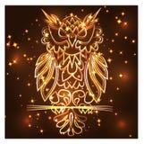 Gufo porpora mistico di fantasia, colore al neon, stile d'annata psichedelico Modello isolato Uccello dell'ornamento del personag illustrazione vettoriale