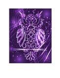 Gufo porpora mistico di fantasia, colore al neon, stile d'annata psichedelico Modello isolato Uccello dell'ornamento del personag royalty illustrazione gratis