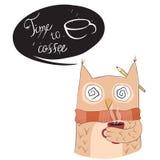 Gufo sveglio con la tazza di caffè Immagine Stock Libera da Diritti