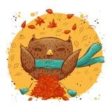 Gufo sveglio con le foglie di autunno Gufo del carattere, autunno Fotografia Stock