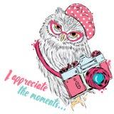Gufo sveglio con una macchina fotografica Vettore del gufo Cartolina con un gufo hipster Immagini Stock