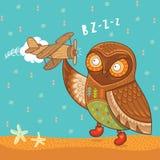 Gufo sveglio del fumetto con l'aeroplano di legno del giocattolo Immagini Stock Libere da Diritti