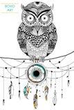 Gufo tribale di stile di boho con il collettore di sogno royalty illustrazione gratis