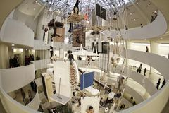 Gugg 033. The New York Guggenheim Museum with Maurizio Cattelan exhibit Royalty Free Stock Photo