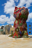 Guggenheim Bilbao. Flower Puppy in front of the famous Guggenheim Museum in the center of Bilbao, Basque country, Spain Royalty Free Stock Photos