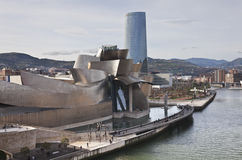 Guggenheim Museum Bilbao. Bilbao, Spain, January 1, 2012. Guggenheim Museum of Contemporary Art, Canadian architect Frank O. Lehry, seen from the river Nervión Royalty Free Stock Photos