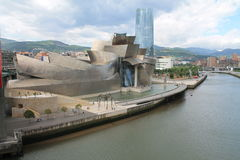 Guggenheim Museum Bilbao. Guggenheim Museum of Contemporary Art with the Nervión river in Bilbao (Basque Country Royalty Free Stock Photos