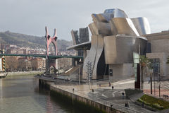 The Guggenheim Museum Bilbao, along the river Nerv stock photo