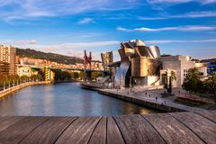The Guggenheim Museum, Nervion River and La Salve Bridge in Bilbao royalty free stock photos
